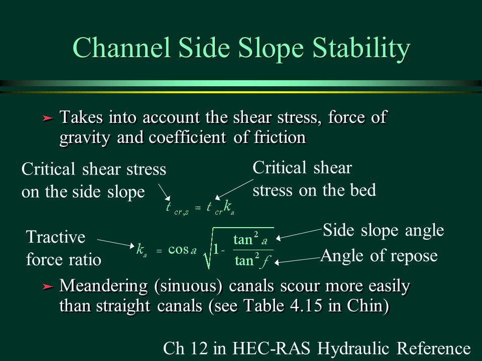 Channel Side Slope Stability