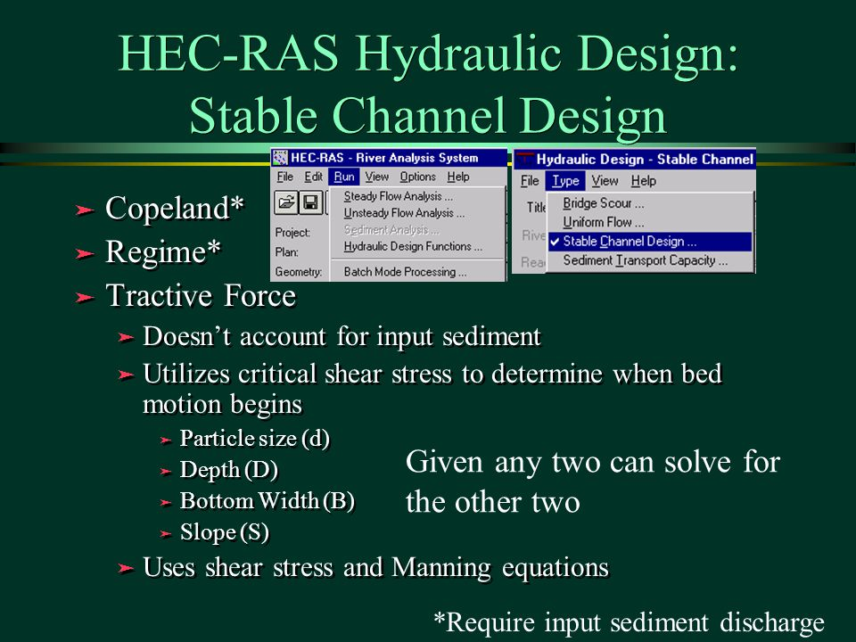 HEC-RAS Hydraulic Design: Stable Channel Design