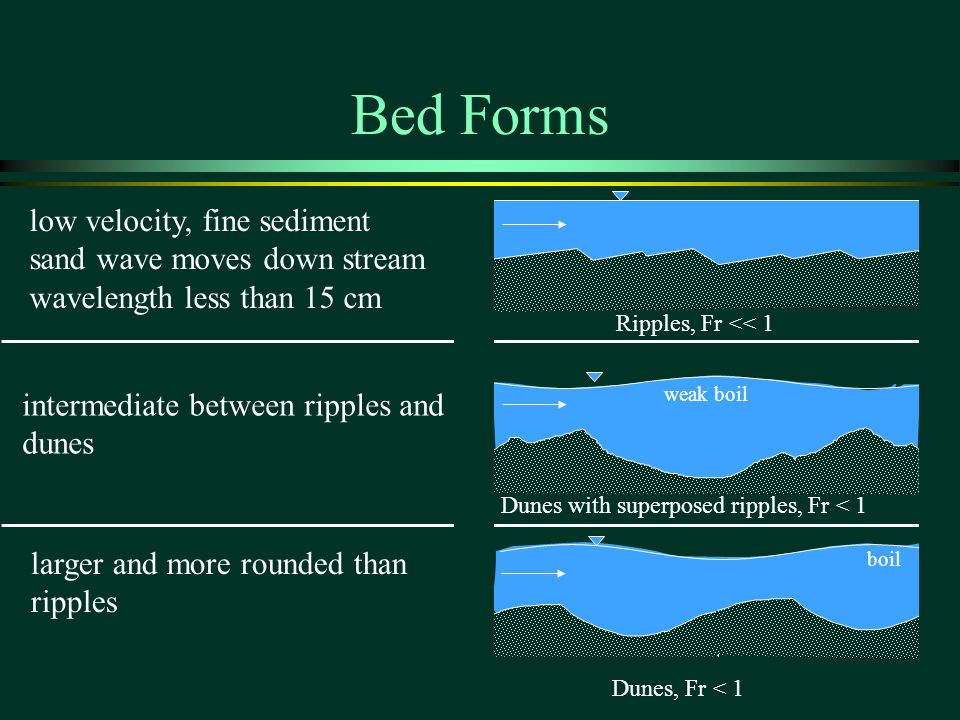 Bed Forms low velocity, fine sediment sand wave moves down stream