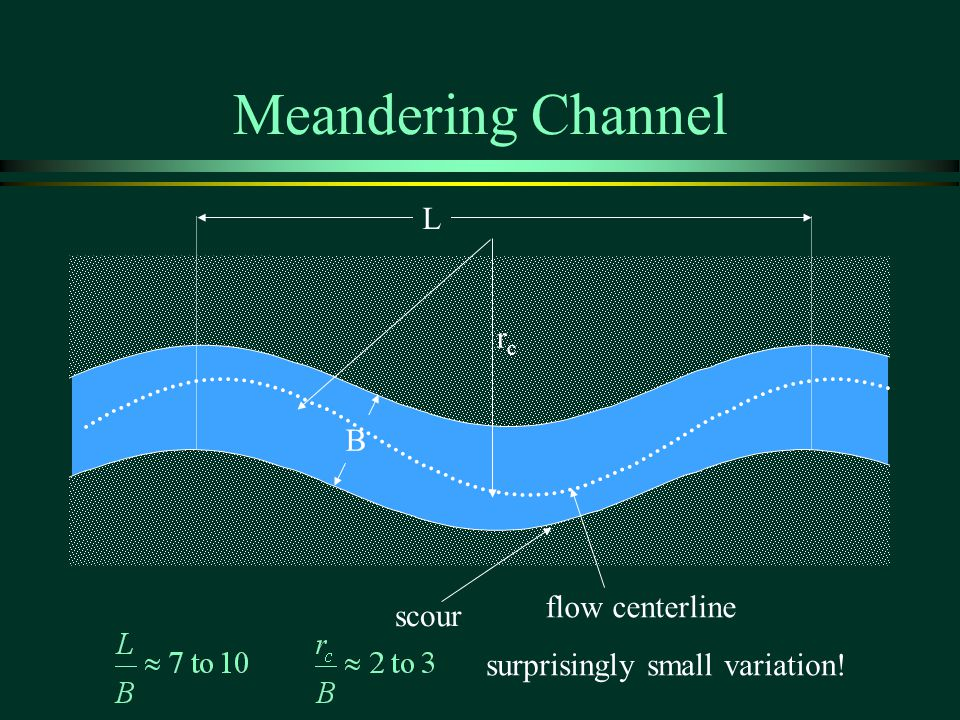 Meandering Channel L rc B flow centerline scour