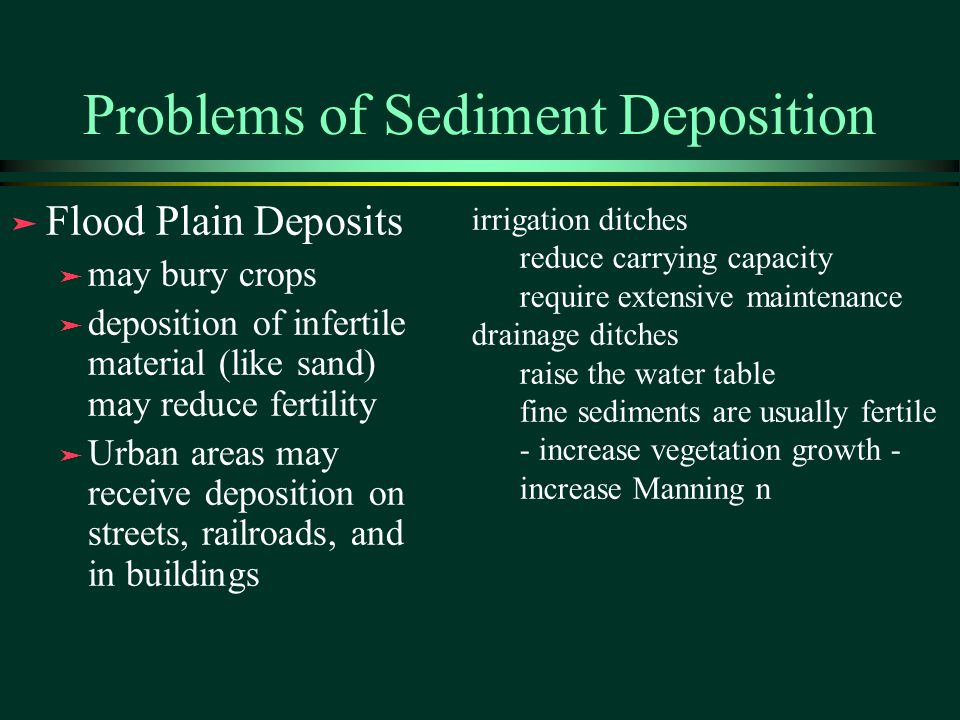 Problems of Sediment Deposition