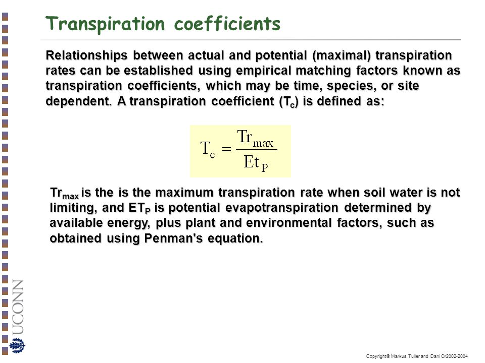 how to calculate transpiration rate