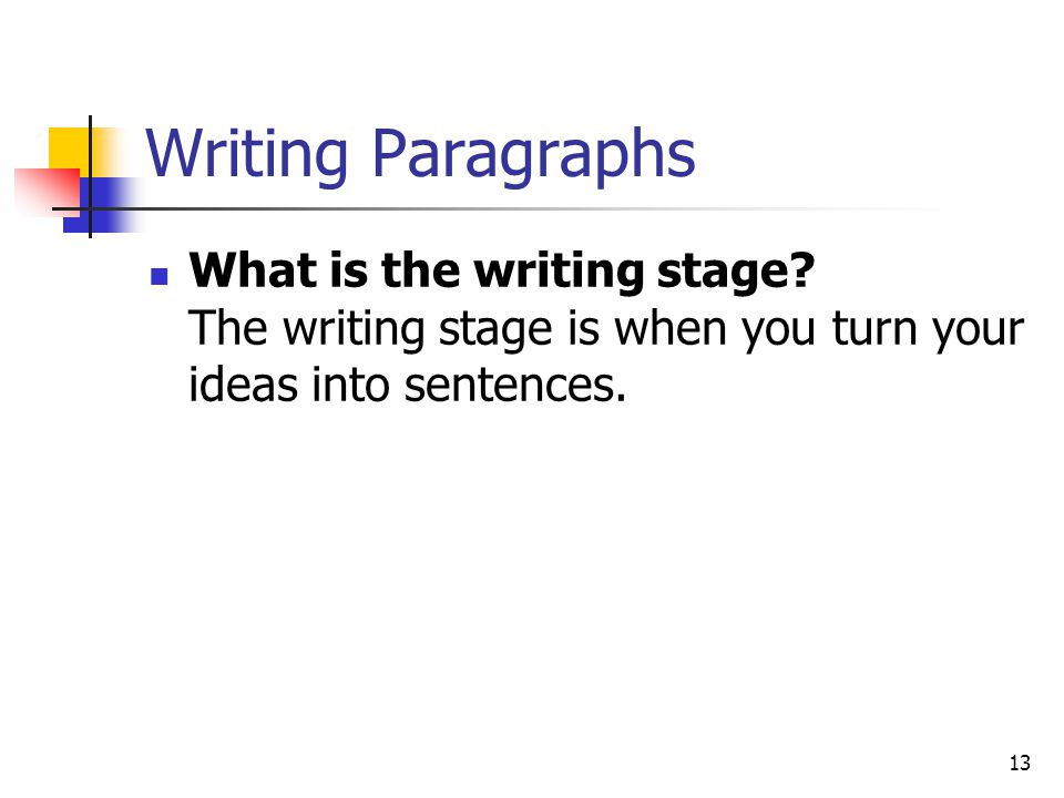 Writing Paragraphs What is the writing stage.