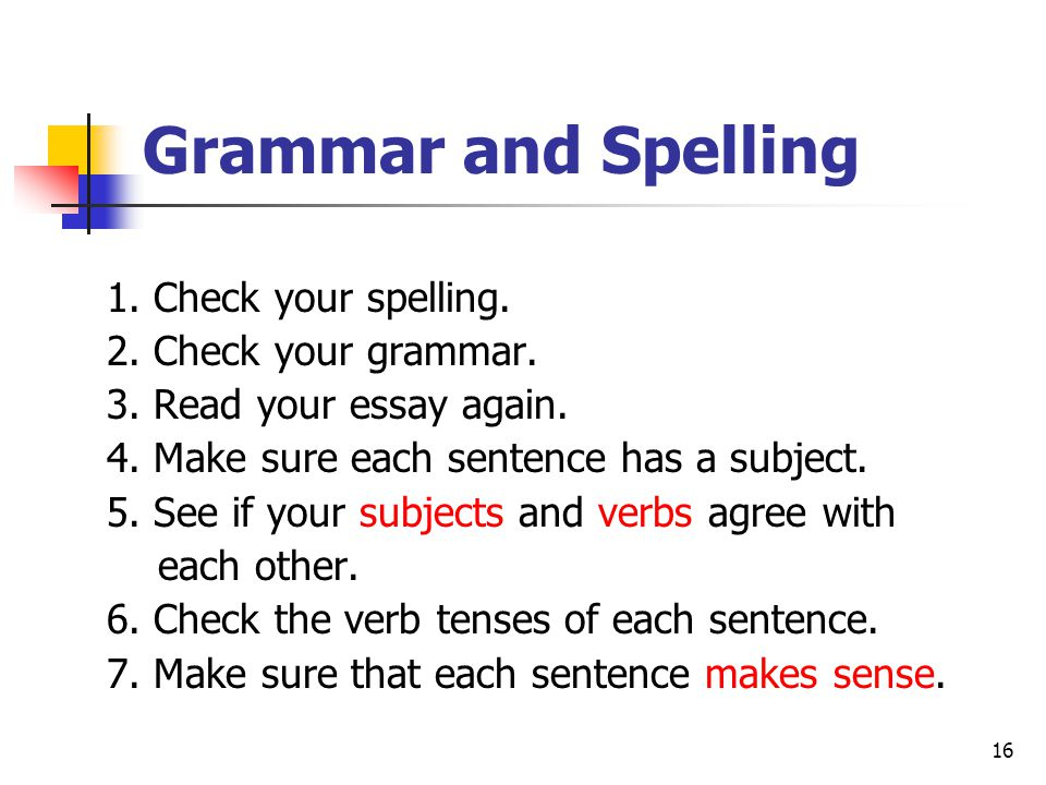 Grammar and Spelling 1. Check your spelling. 2. Check your grammar.
