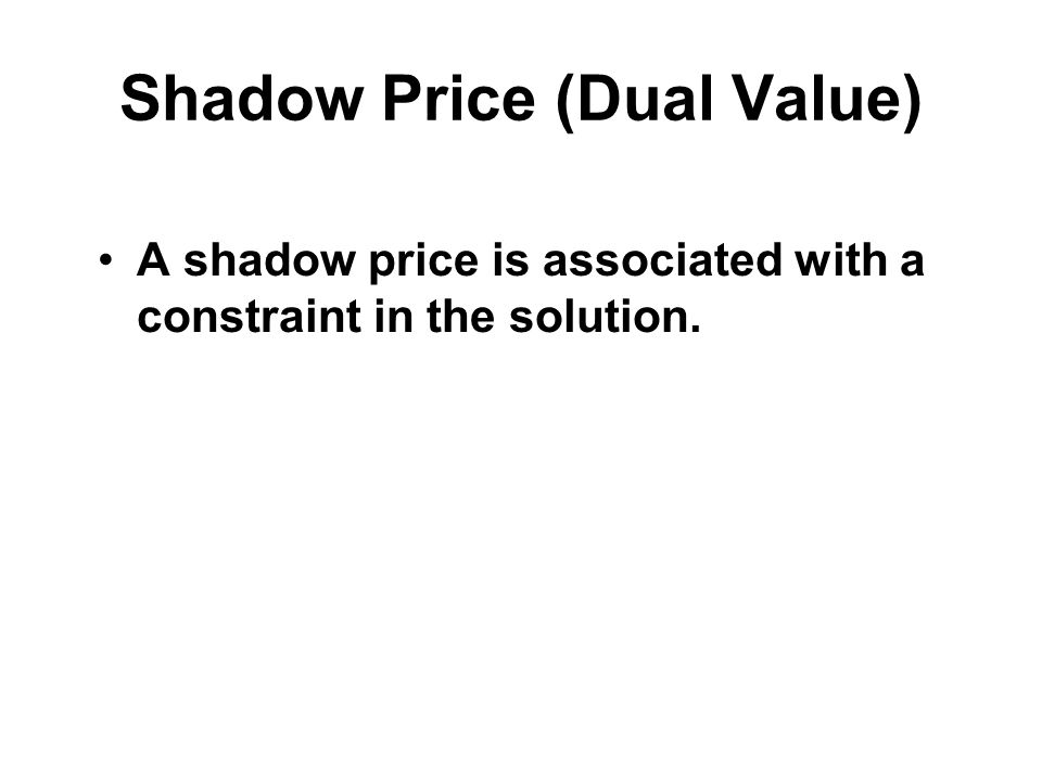 Shadow Price (Dual Value)