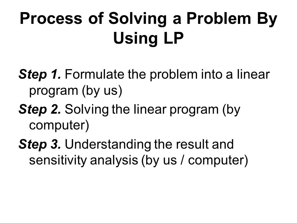 Process of Solving a Problem By Using LP