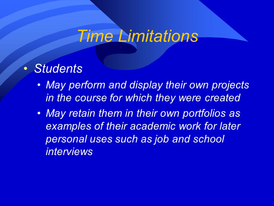 Time Limitations Students
