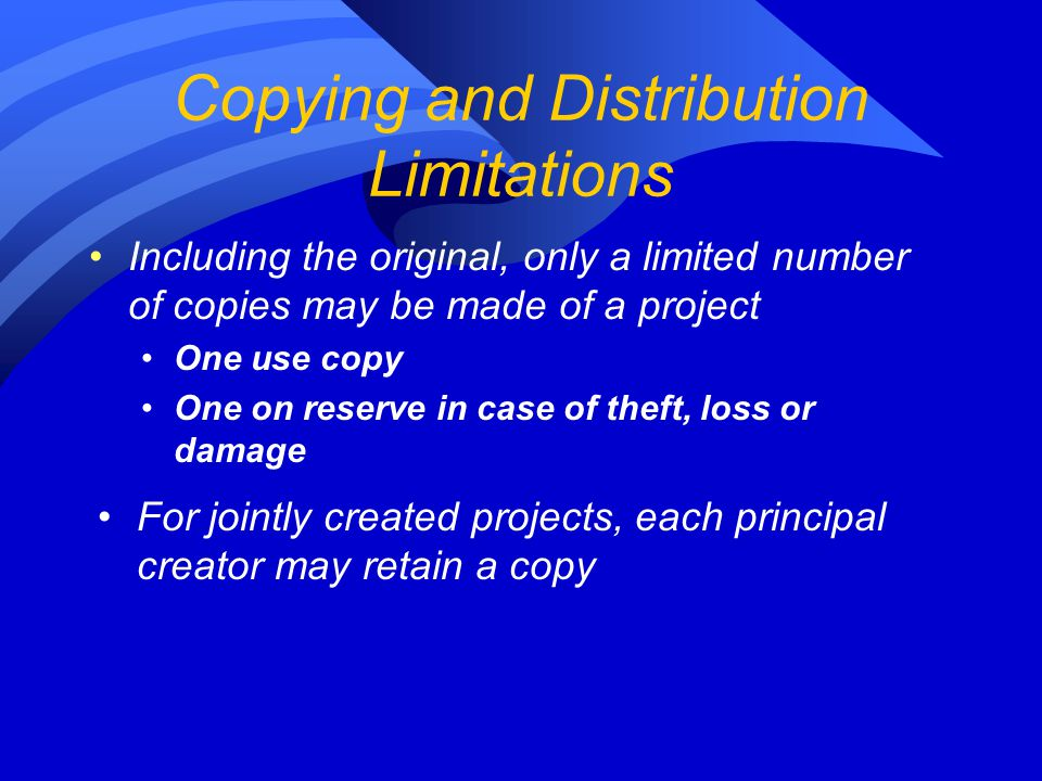Copying and Distribution Limitations