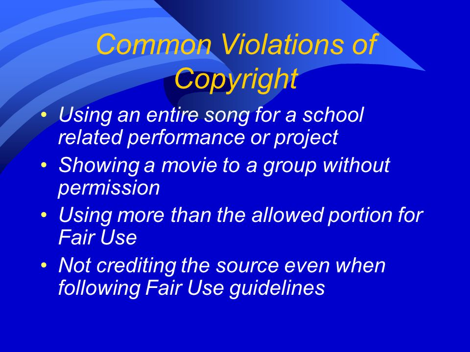 Common Violations of Copyright