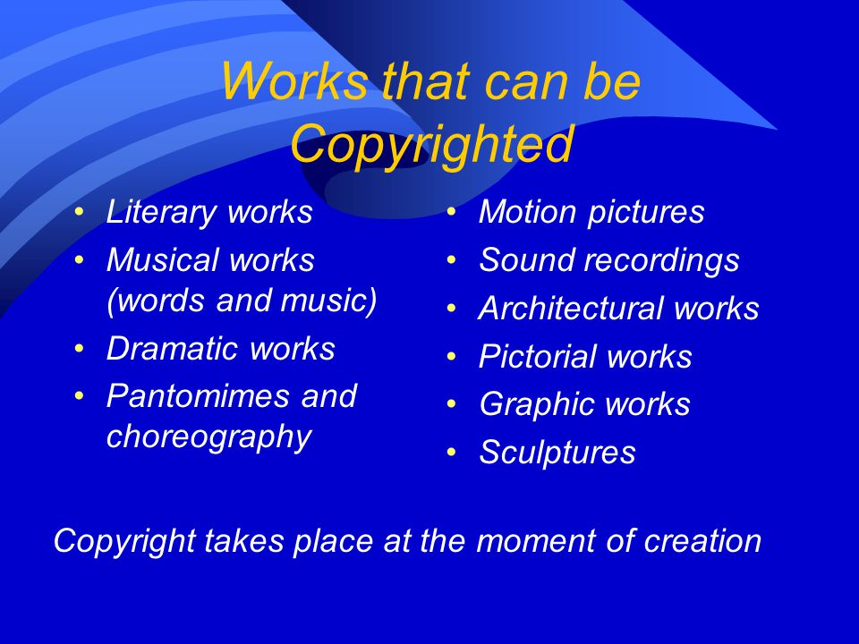 Works that can be Copyrighted