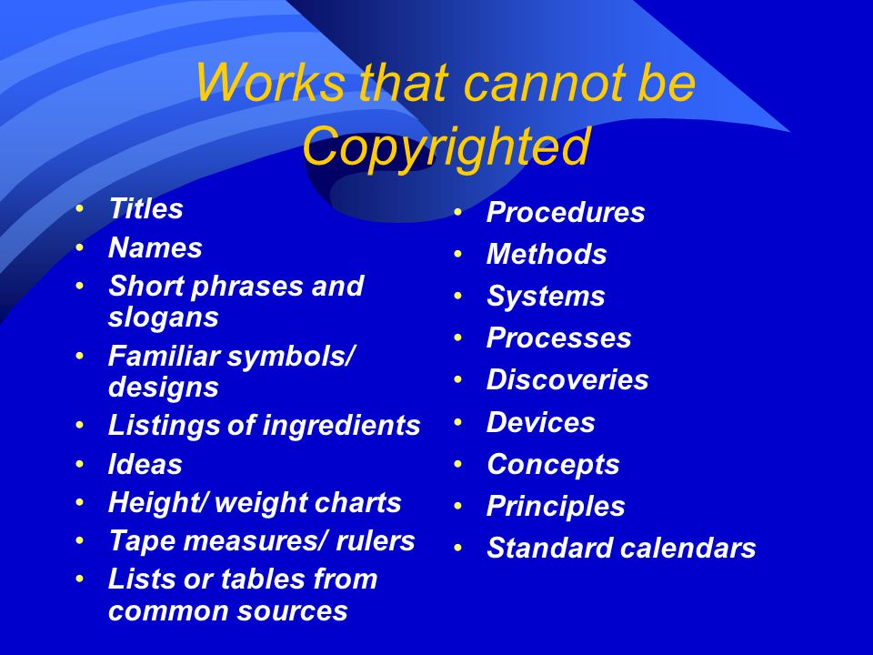 Works that cannot be Copyrighted