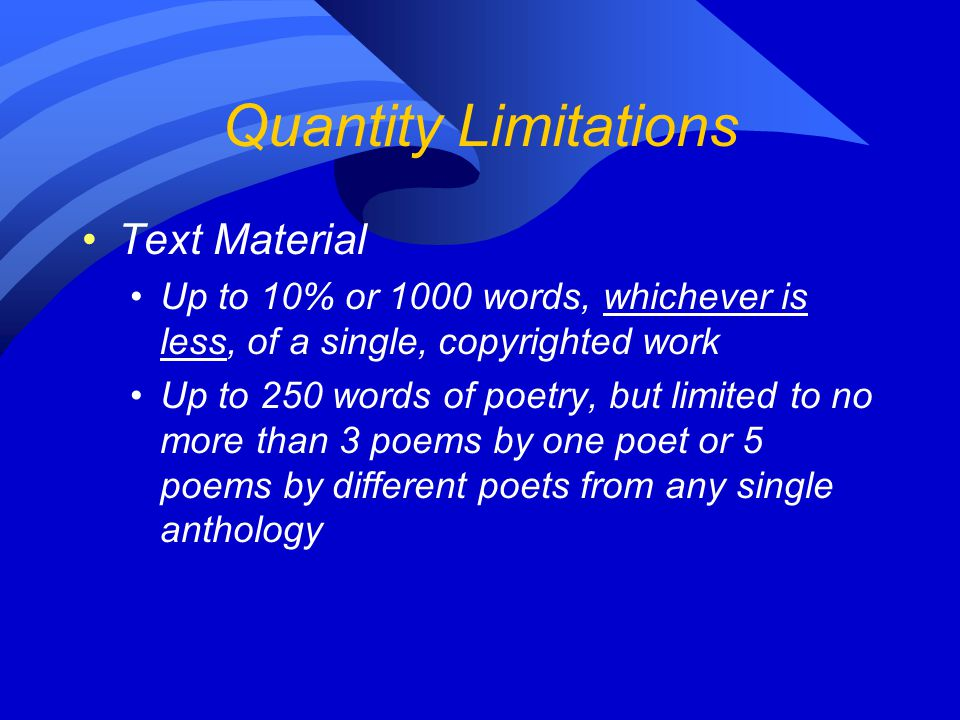 Quantity Limitations Text Material