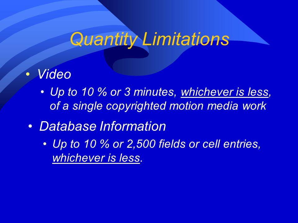 Quantity Limitations Video Database Information