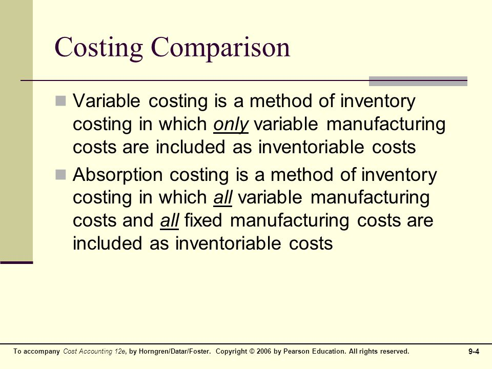 4 Costing Comparison Variable