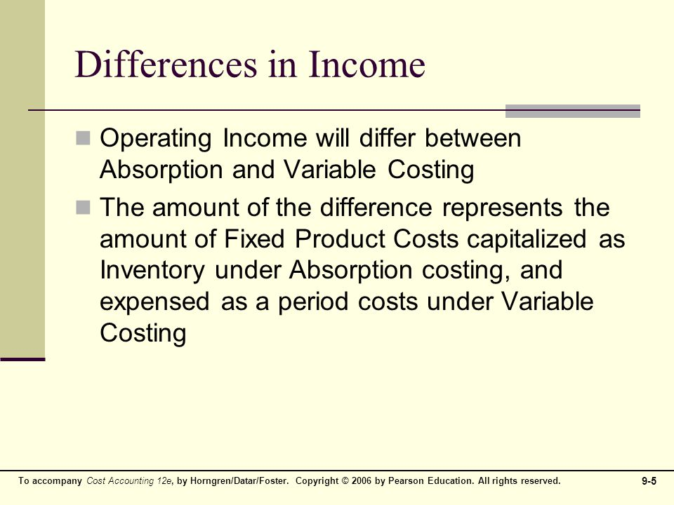 Differences In Income Operating Will Differ Between Absorption And Variable Costing