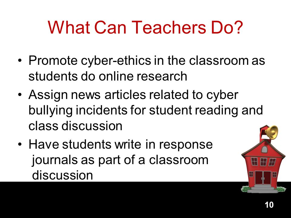 What Can Teachers Do Promote cyber-ethics in the classroom as students do online research.