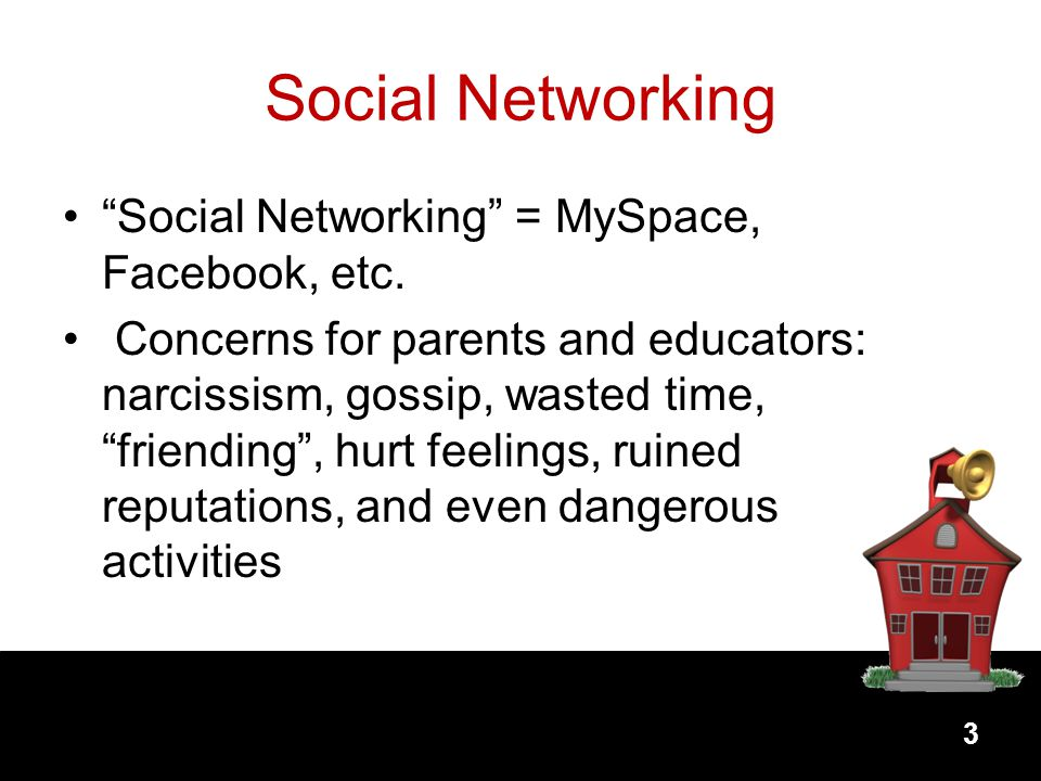 Social Networking Social Networking = MySpace, Facebook, etc.