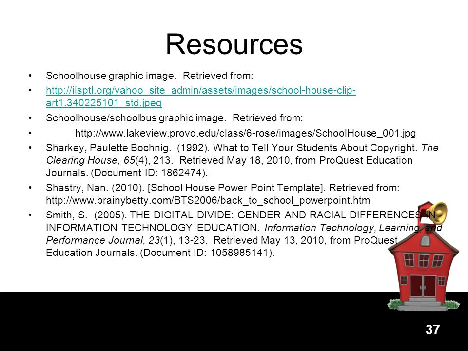 Resources Schoolhouse graphic image. Retrieved from: