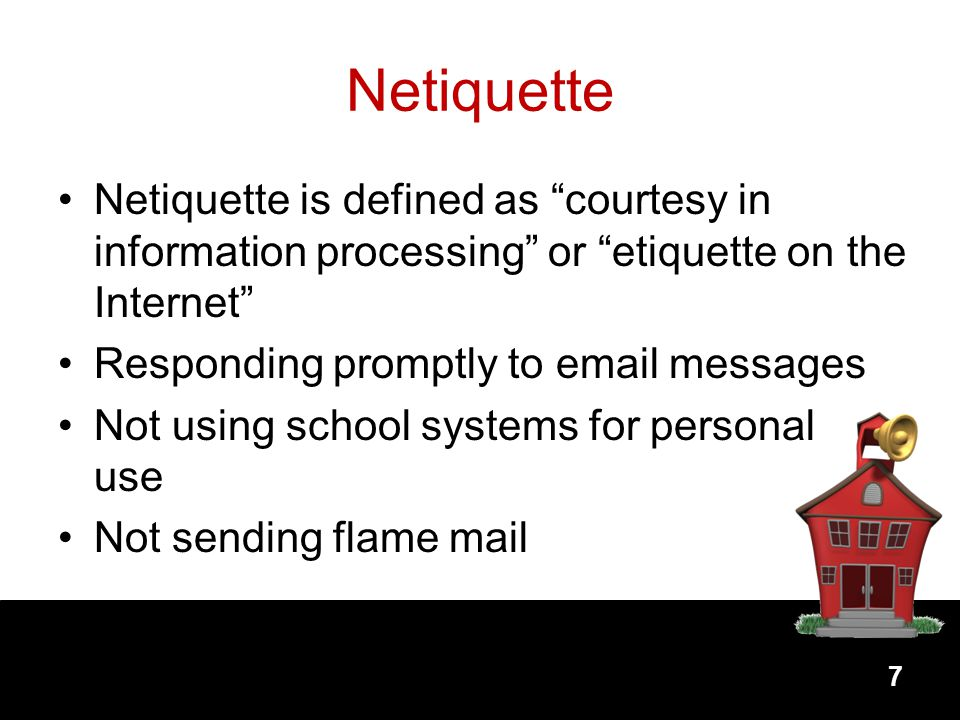 Netiquette Netiquette is defined as courtesy in information processing or etiquette on the Internet