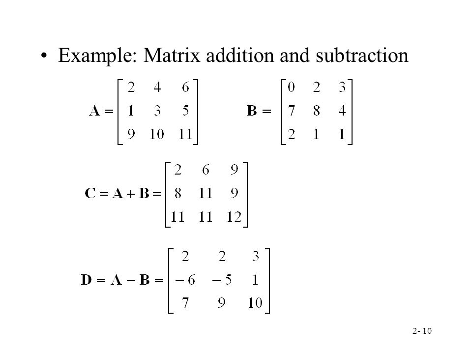 Example: Matrix addition and subtraction