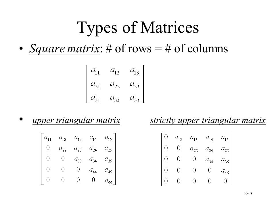 Types of Matrices Square matrix: # of rows = # of columns