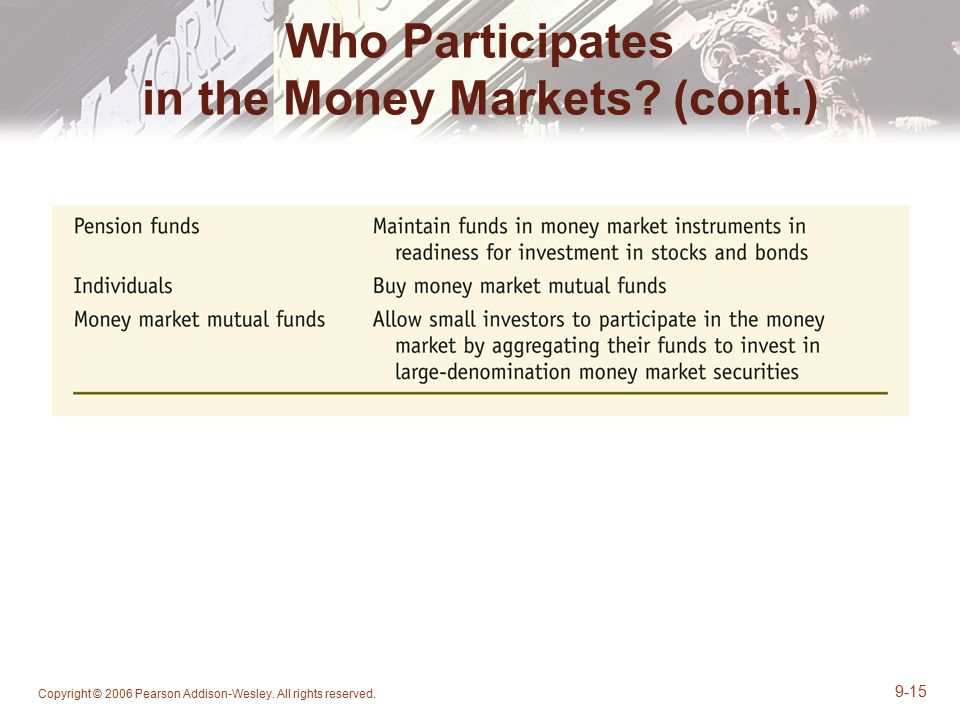 Who Participates in the Money Markets (cont.)