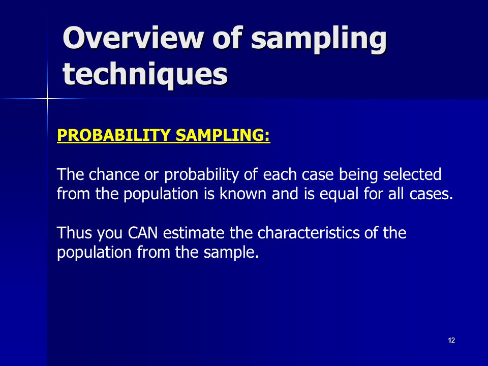 Overview of sampling techniques