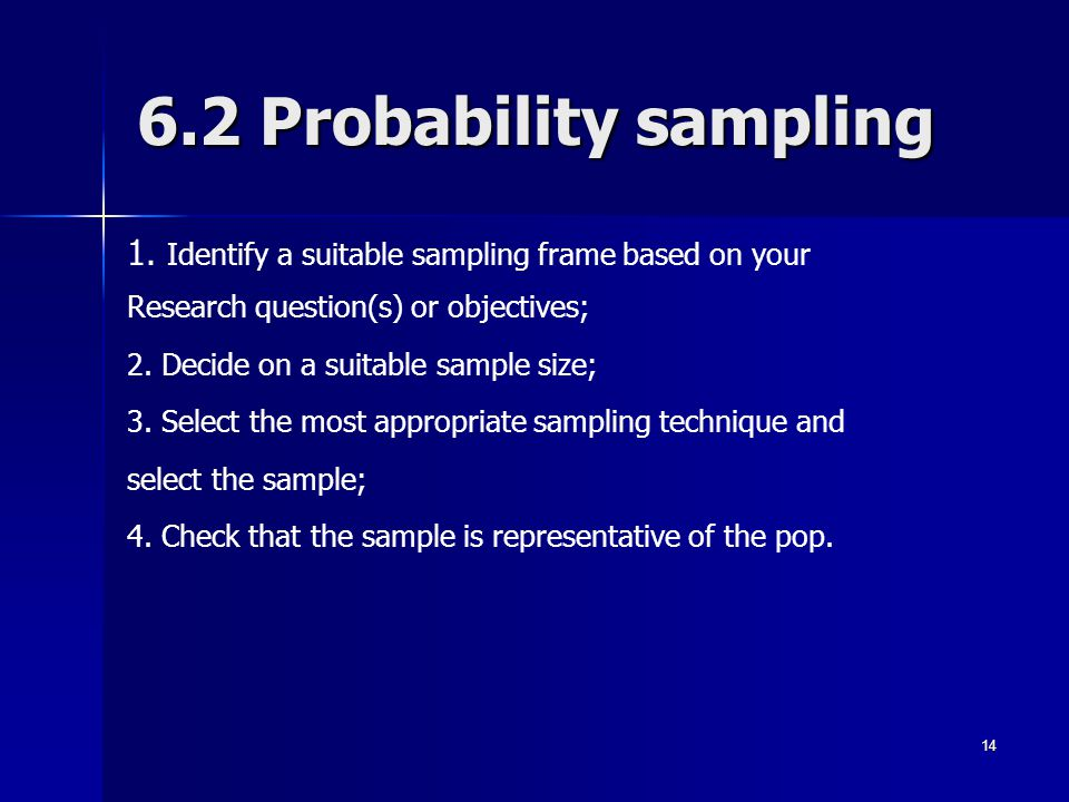 6.2 Probability sampling 1. Identify a suitable sampling frame based on your. Research question(s) or objectives;