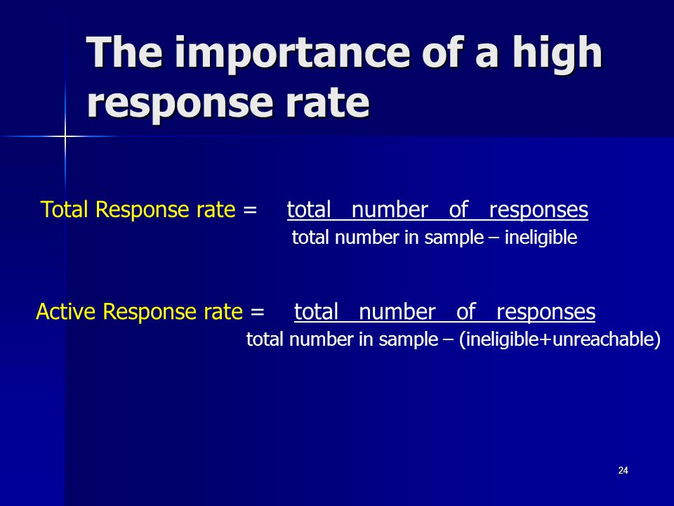 The importance of a high response rate