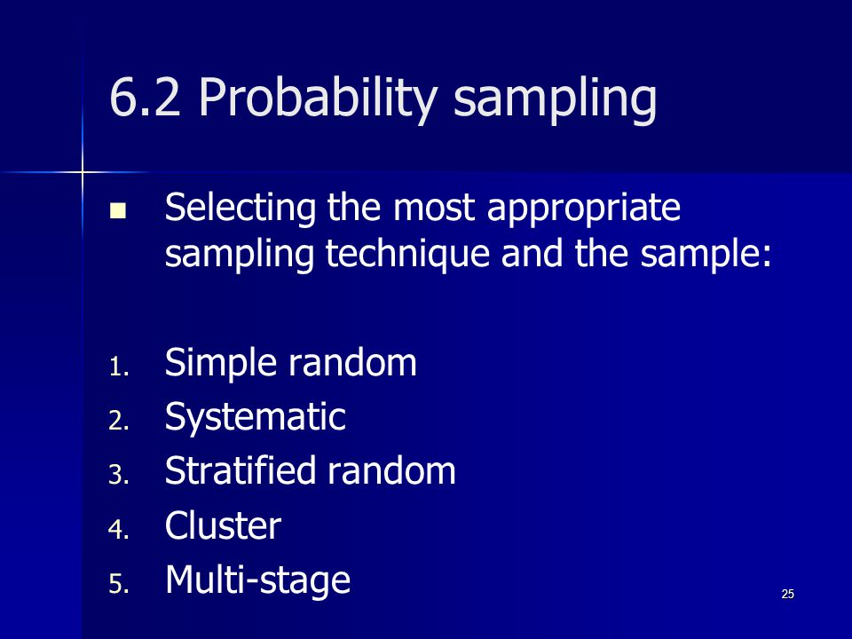 6.2 Probability sampling Selecting the most appropriate sampling technique and the sample: Simple random.
