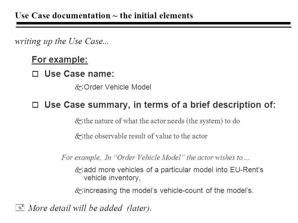 Use Case documentation ~ the initial elements