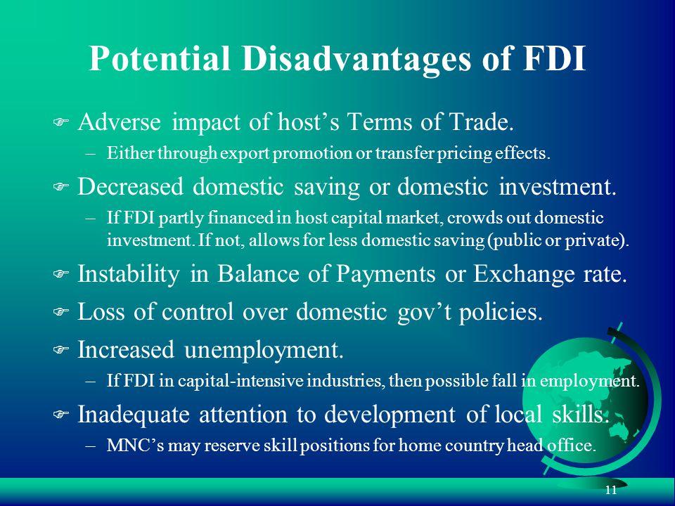 disadvantages of fdi