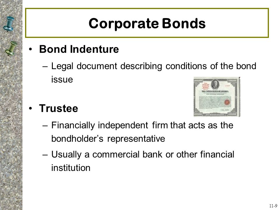 Corporate Bonds Bond Indenture Trustee