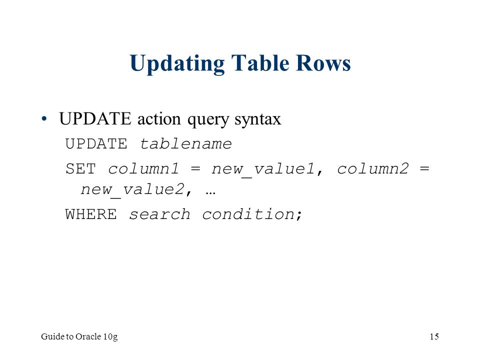 Updating query in oracle