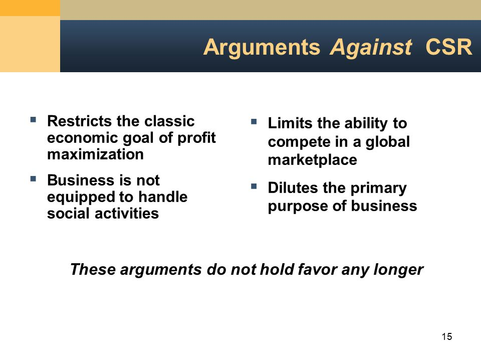 arguments for and against business being socially responsible 12102018  there are arguments for and against businesses being socially responsible, but it is my thought that they should be, for reasons practical, social, and moral.