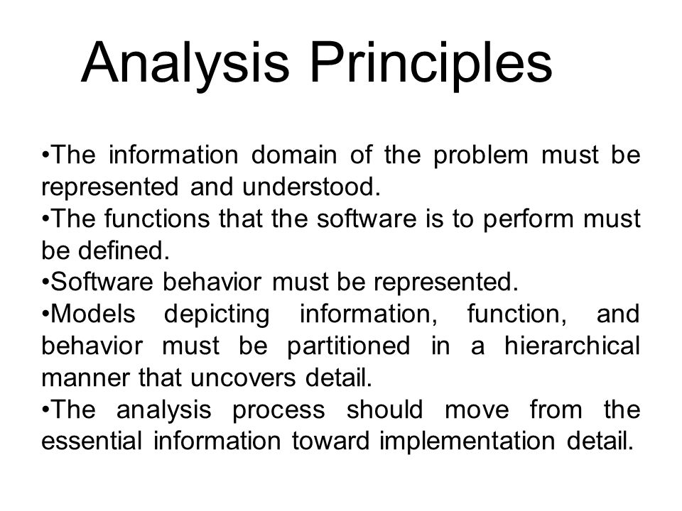 Analysis Principles The information domain of the problem must be represented and understood.