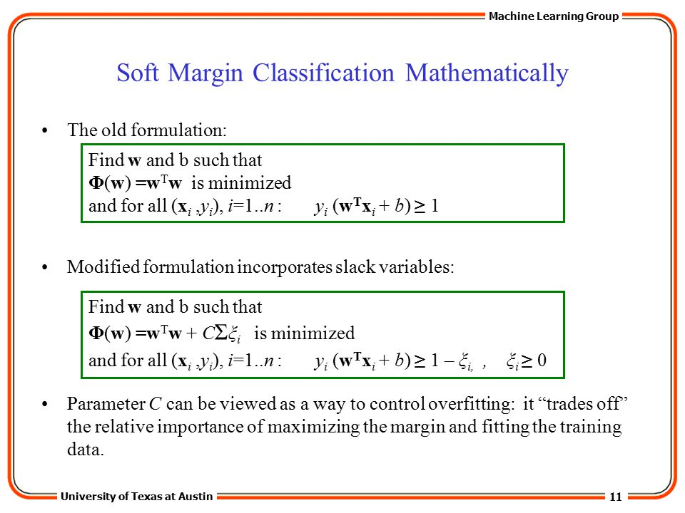 Soft Margin Classification Mathematically