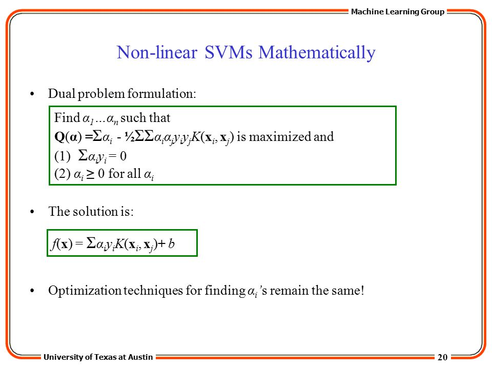 Non-linear SVMs Mathematically