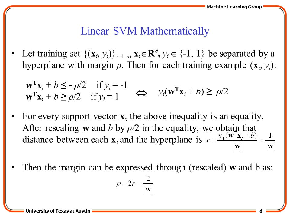 Linear SVM Mathematically