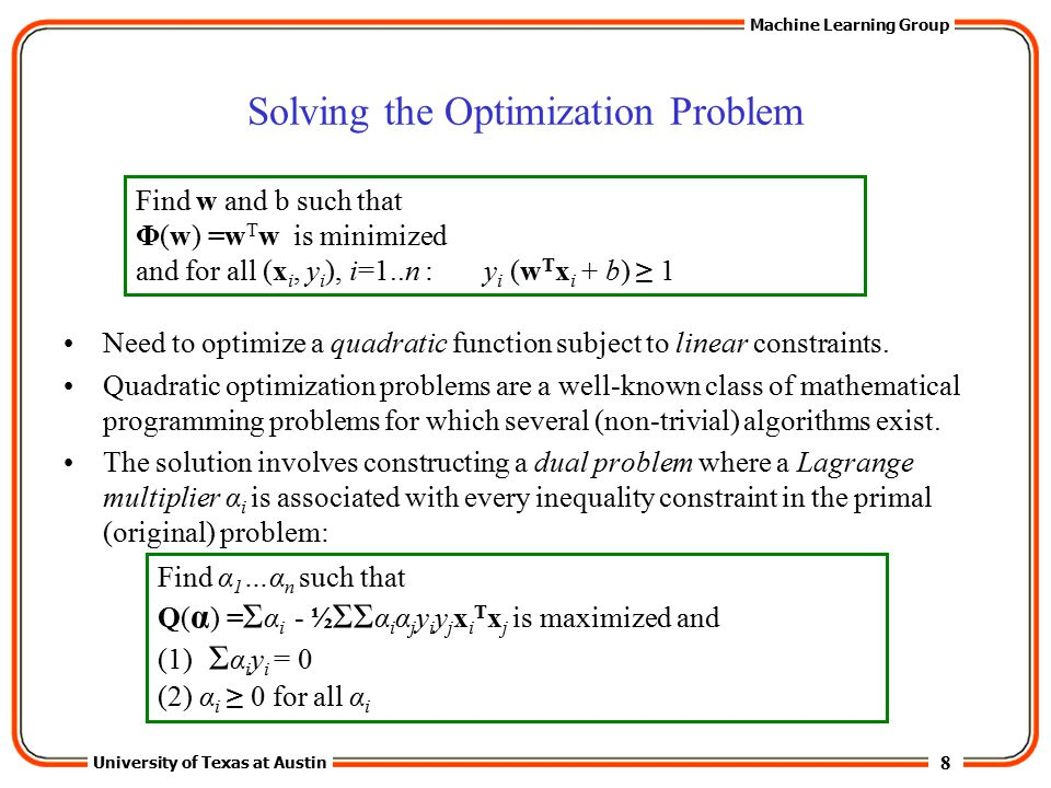 Solving the Optimization Problem