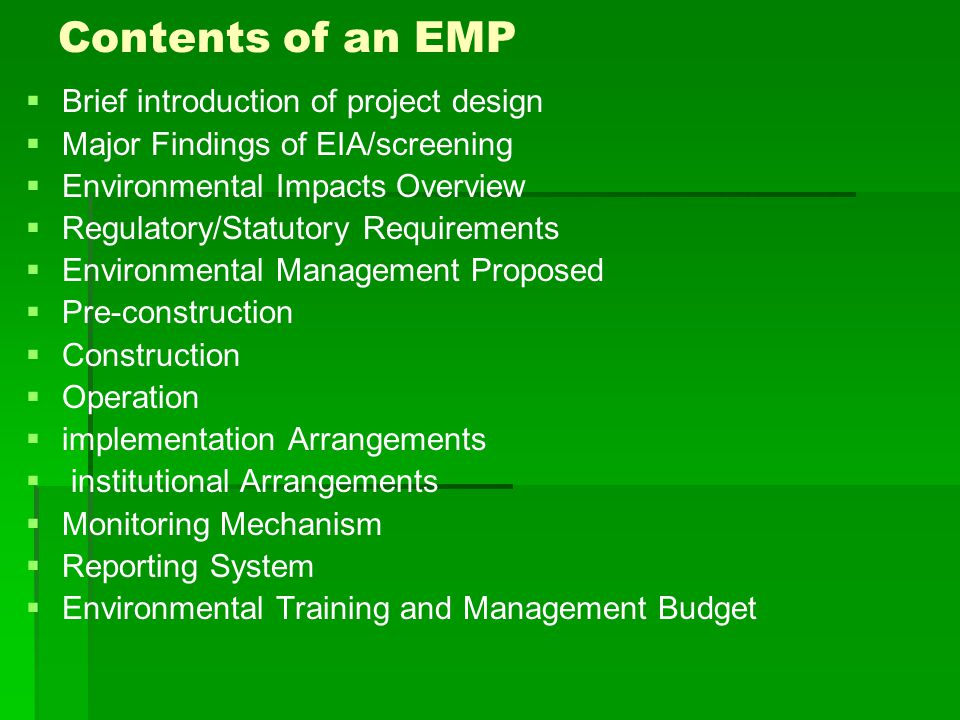 Contents of an EMP Brief introduction of project design