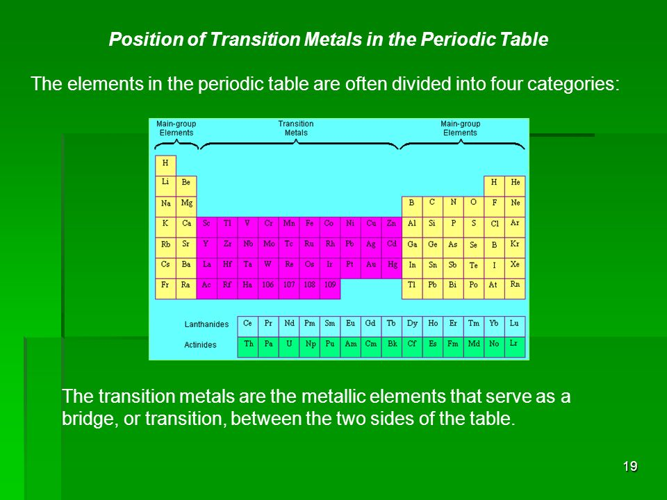 tansition metals The transition elements are those in the middle section of the periodic table all the transition elements are metals and so they have typical metallic properties - they conduct heat and.