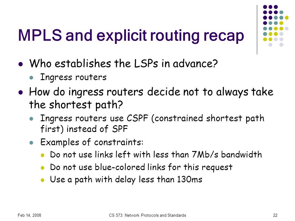 MPLS and explicit routing recap