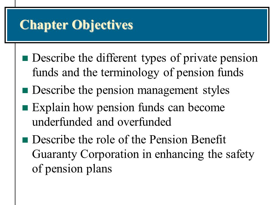 Chapter Objectives Describe the different types of private pension funds and the terminology of pension funds.