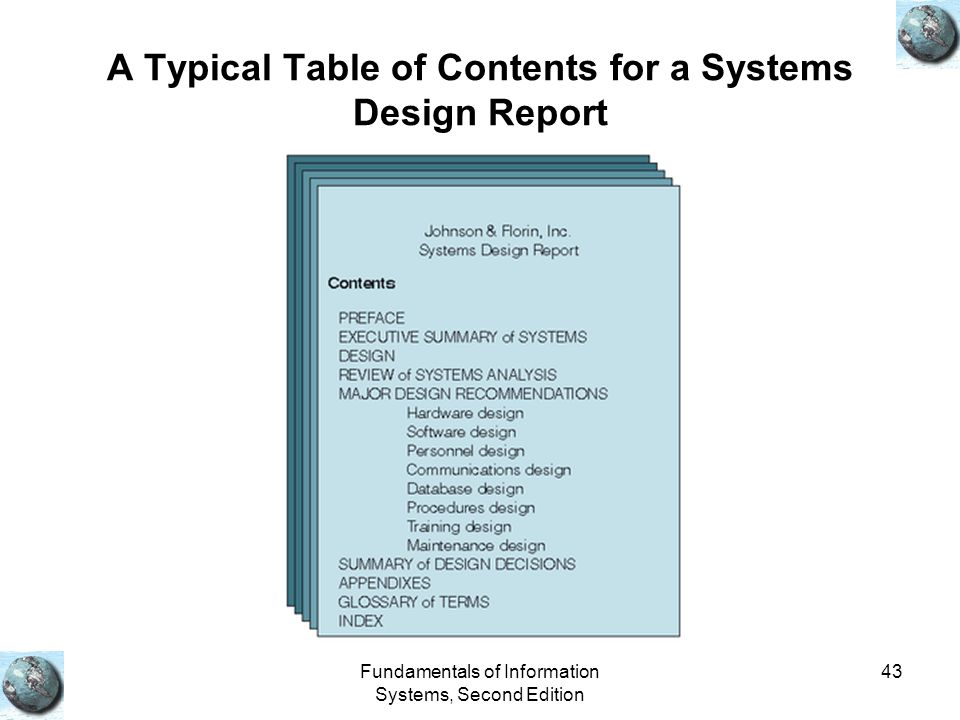 A Typical Table of Contents for a Systems Design Report