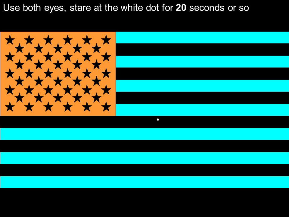 Use both eyes, stare at the white dot for 20 seconds or so