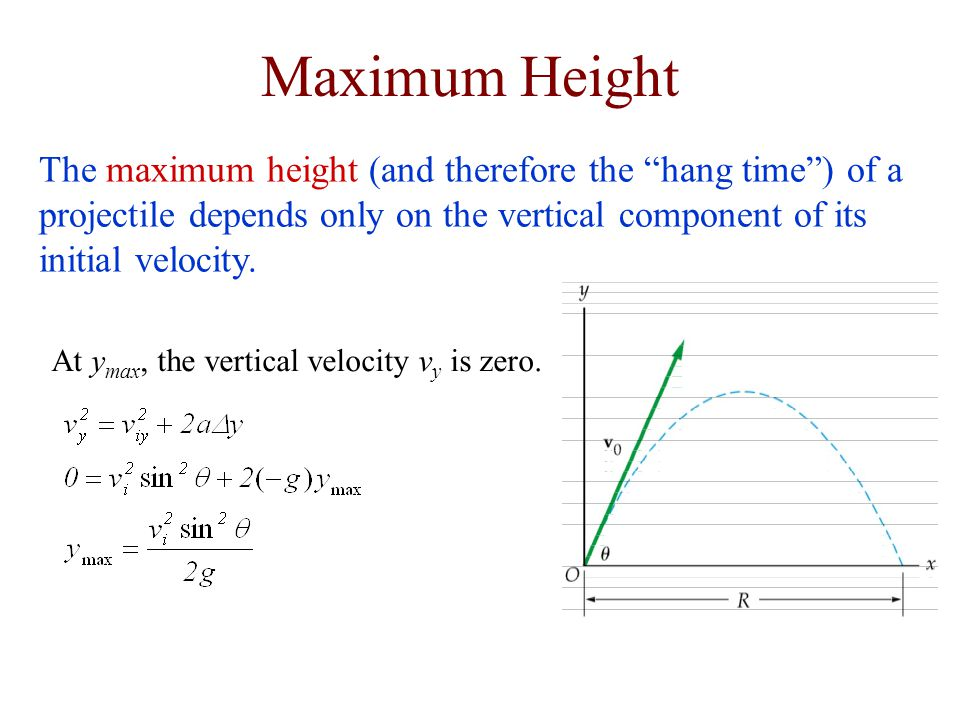 Maximum Height The maximum height (and therefore the hang time ) of a projectile depends only on the vertical component of its initial velocity.