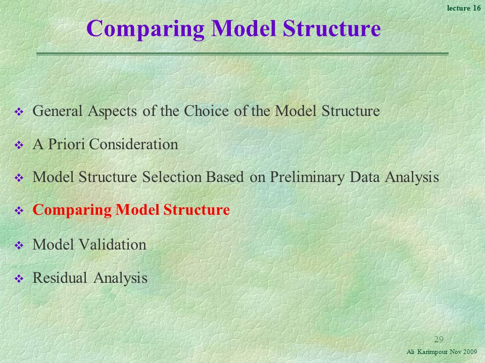 Comparing Model Structure