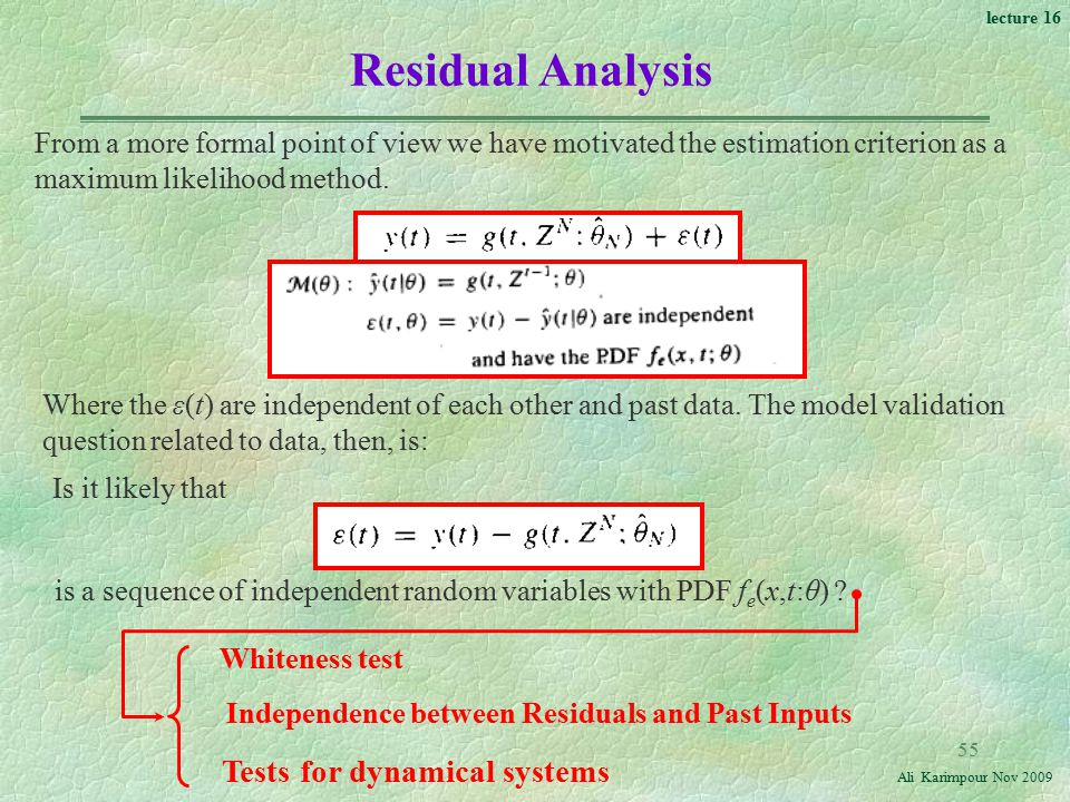 Residual Analysis Tests for dynamical systems