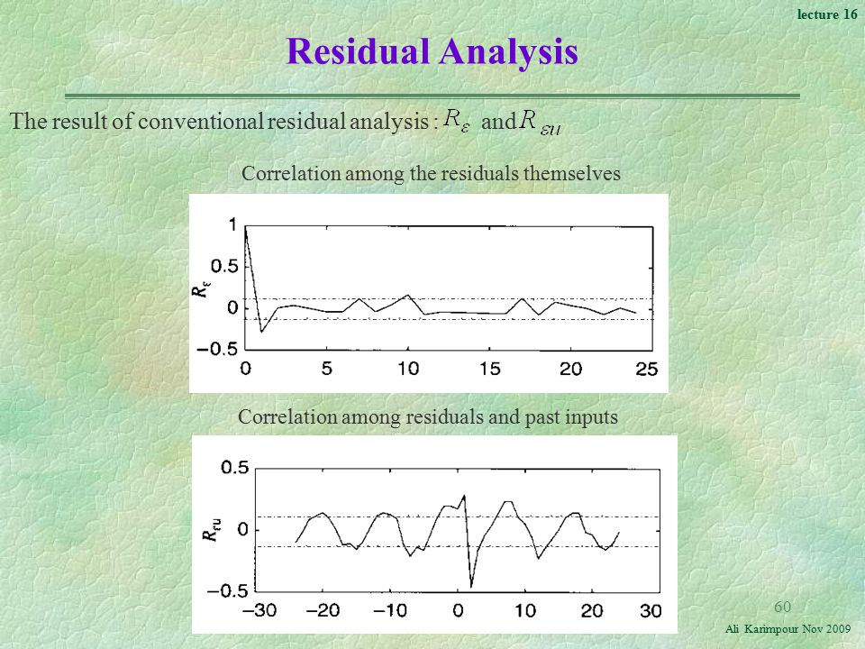 Residual Analysis The result of conventional residual analysis : and